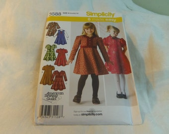 Girls Dress or Jumper, Bodice Variations, Size 3, 4, 5, 6, 7, 8 Uncut Pattern, Simplicity 3588
