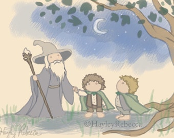 Lord of the Rings-Gandalf, Frodo and Sam-Art for Nurseries & Children's Rooms-Ask About Commissions
