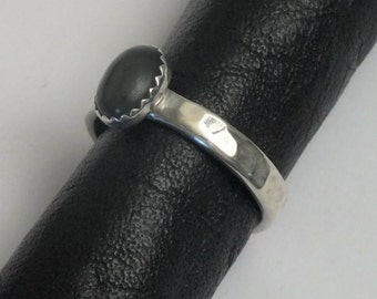 Jade and Sterling Silver Ring Size 7.5