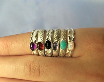 """Sterling Silver """"Swirls and Stripes"""" Pattern ring with Stone"""