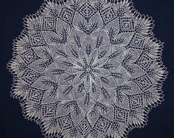 knitted doily, big doily, lace knitted doily, large round doily, white knitted doily