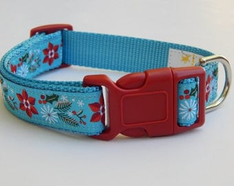 Poinsettia Dog Collar, Christmas Dog Collar, Holiday Dog Collar, Adjustable Dog Collar