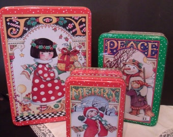 Set of three Decorative Christmas Tins,made in 2000, (# 820/bb49)