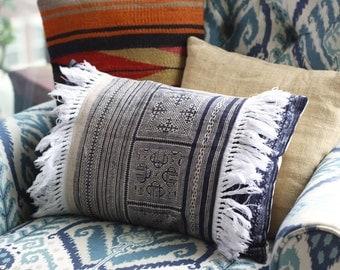 """13""""x20"""" Handmade vintage hmong lumbar pillow cover"""