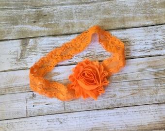 Orange Headband/Lace Headband/Shabby Chic Headband/Baby Headband/Baby Girl Headband/Infant Headband/Halloween Headband/Newborn Headband