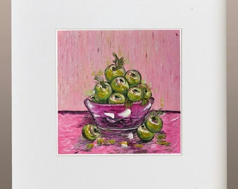 Original Oil Painting - Green Apples