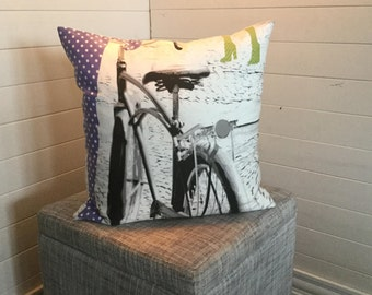 "Black and White Bicycle - 18"" x 18"" Pillow Cover"