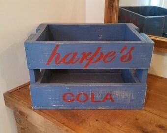 Rustic Soda Crate inspired storage box ( Harpe's - blue )