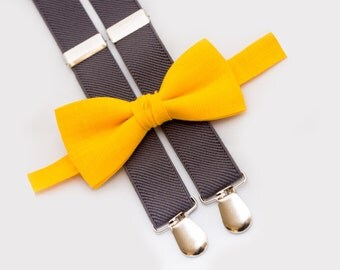 Wedding Boys Outfit, Mustard Bow Tie and Gray Suspenders,  Ring Bearer Outfit