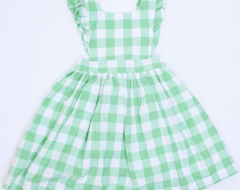 Pinafore in Seafoam Green Gingham