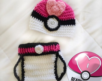 Pink Heart Pokemon Loveball Pokeball Crocheted Newborn Baby Photo Prop