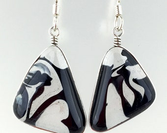 Wire Wrapped Fused Glass Earrings / Black and clear swirl fused glass wire wrapped earrings