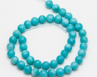 Natural Color Peruvian Amazonite Smooth Round Semi-Precious Gemstone Loose Beads Size:8mm/10mm.R-S-AMA-0076