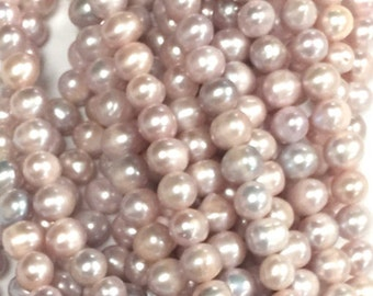 Wholesale Natural Fresh Water Pearl Necklaces 9mm-10mm  Purple Pearls.R-S-PEA-0313