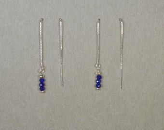 Loops of ears Lapis Lazuli and Silver 925