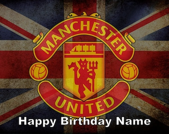 Manchester United Football Soccer Edible Image Cake Topper Personalized Birthday 1/4 Sheet