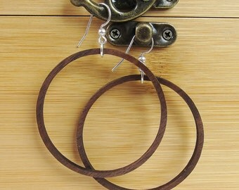 Wood Hoop Earrings, Laser Cut Wood Earrings, Large Walnut Hoop Earrings, Retro Hoops, Nature Jewelry, Organic Jewelry, Yoga Jewelry, Modern