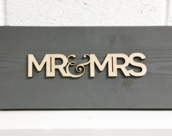 FREE Delivery - MR & MRS Large Chunky Wooden Sign