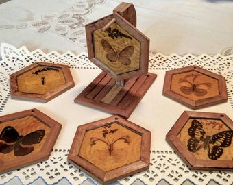 Vintage Coasters Butterfly Hexagon Coasters (6) On Bamboo / Wood Stand Beverage 1960s Retro Home Living Decor