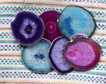 Agate Coasters - Set of 6 - GOLD or SILVER Finish - Coasters - Perfect Housewarming Gift - Wedding Gift - Choose your Colors