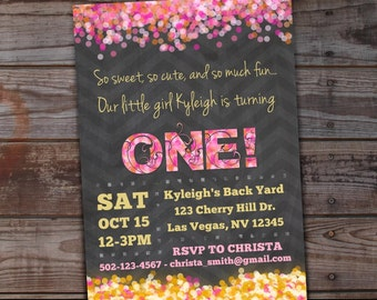 Pink and Gold First Birthday Invitation | Pink and Gold Chalkboard Invitation | 1st Birthday Invitation, Pink and Gold Confetti Party