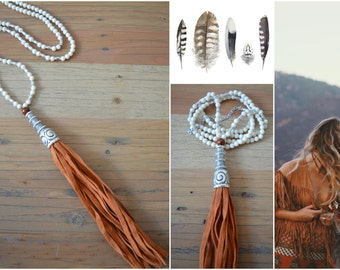 Riverstone Beaded TASSEL Necklace Jewelry, Bohemian Free People Necklace, Antique Silver Greek Spiral Pendant jewelry, Gypsy Ethnic Jewelry