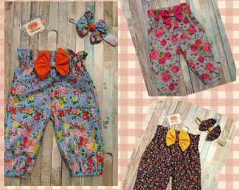 Cotton trousers with matching bow