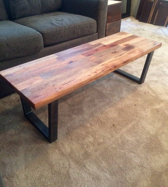 Reclaimed Wood Coffee Table // Tube Steel By
