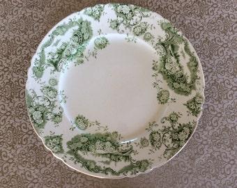 E.Bourne J E Leigh ironstone dinner Plate Florentine pattern Green semi porcelain