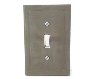 Cement switch plate cover, concrete light switch cover, modern decor, minimalist decor, outlet cover, single switch cover, modern lighting
