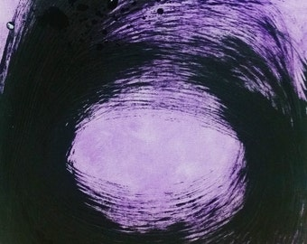 "11""x14"" Purple and Black Minimalist Abstract Acrylic Painting"
