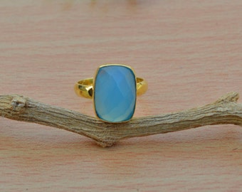 Cushion Faceted Blue Chalcedony Gemstone ring,  Chalcedony gold ring,  Sterling Silver 14K Gold Overlay Ring ,energy ring, Tiny ring