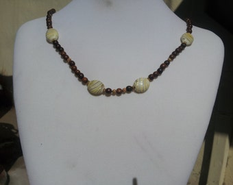 Wood and Flame work Glass Necklace