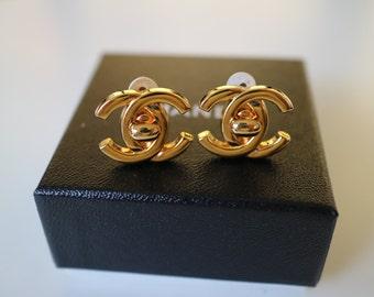 CHANEL TURNLOCK CC Earrings
