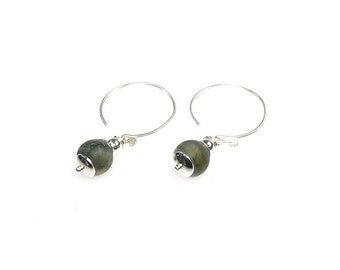 Trendy earrings-Indian agate and Hill Tribe silver 316