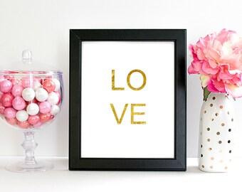8x10 Digital Art Print. Gold LOVE Print