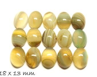 2 PCs gemstone cabochons agate, 18 x 13 mm, beige