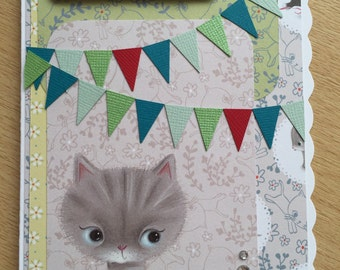 Cute Kitty greetings card, Red.