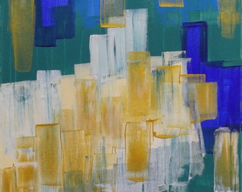 Original Painting, Unique Painting,  Abstract Painting, Acrylic Painting, Stretched Canvas, 40x50cm, 16x20inch, Blue, Green, White, Gold