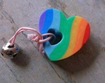1980s Rainbow Bell Heart Eraser, Never used