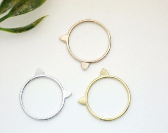 Cat Ears Ring Stacking Ring, kitty cat ring in 3 colors(925 sterling silver / plated over Brass)