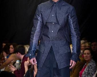 Men's Denim & Jersey Jacket Scupltured Chest 42 Denim Jacket