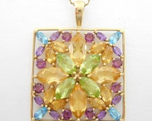 Pendant Necklace Multi Colored Gem Type Stones Set In 10K Gold On A 14K Gold Chain