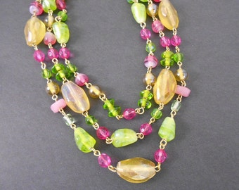 Necklace Three Strand Green and Pink Crystals and Stones