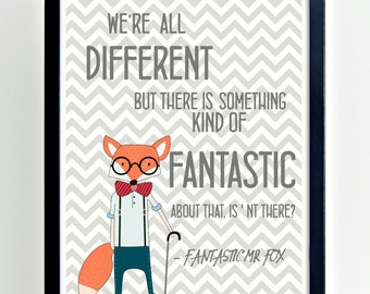 We're All Different, Fox Art, Nursery wall decor,Grey + white, Kids room