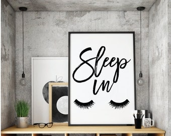 Sleep in Print, Dream big Poster, Printable, Art, Digital, Typography, Vintage, Inspirational Home Decor, Bedroom Printable, Bedroom, Print