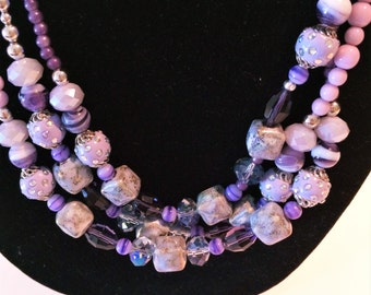 Purple and Silver Glass Bead Necklace
