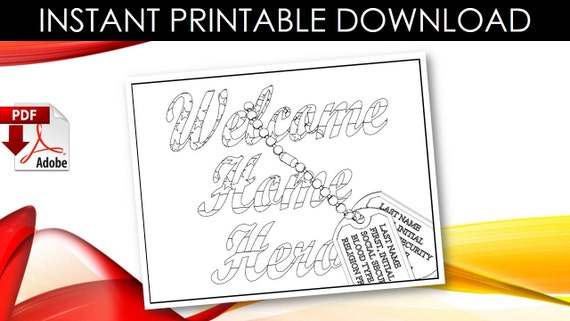 Items similar to welcome home hero military adult coloring for Welcome home coloring pages