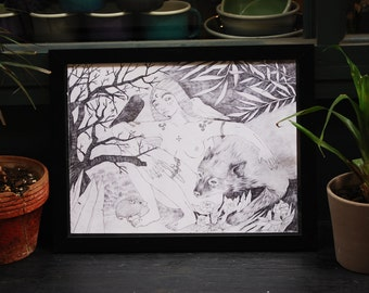 Wolf Woman Print, Wolf Drawing, Woman Art, Pen Drawing, Digital Print, Poster