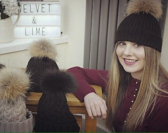 Cable Knit Wool Bobble Hat with Fox Fur Pom Pom
